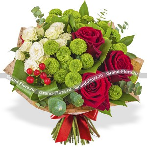 Flaming heart - Bouquet of roses and chrysanthemums